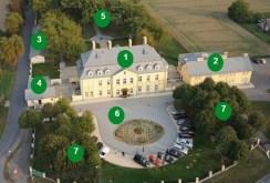na zdjęciu rzut z lotu ptaka na cały kompleks pałacowo-parkowy w województwie śląskim na sprzedaż