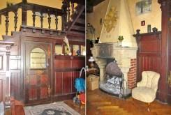 na zdjęciu orygiinalny kominek oraz fragment przedpokoju w willi do sprzedaży we Wrocławiu