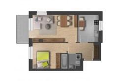 zdjęcie przedstawia rzut z góry na rozkład pokoi w apartamencie do sprzedaży w Olsztynie