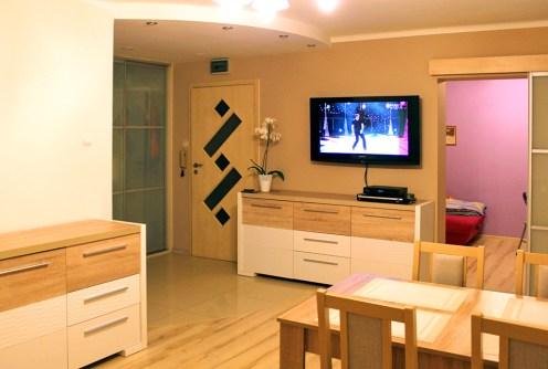 zdjęcie prezentuje nowoczesny salon w apartamencie do sprzedaży w Olsztynie