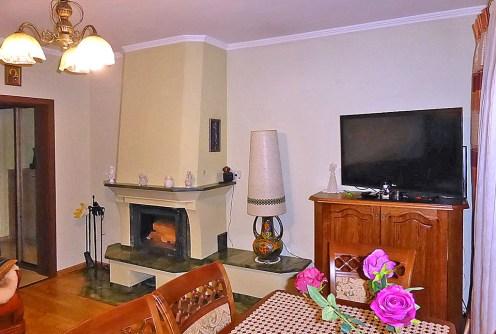 na zdjęciu kominek w salonie luksusowego apartamentu do sprzedaży w Kwidzynie