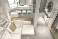 widok z góry na salon w ekskluzywnym apartamencie na sprzedaż w Szczecinie