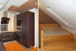 po lewej fragment aneksu kuchennego po prawej sypialni w luksusowym apartamencie do wynajęcia w okolicy Szczecina