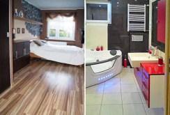 po lewej sypialnia po prawej łazienka w luksusowym apartamencie do wynajmu w Szczecinie