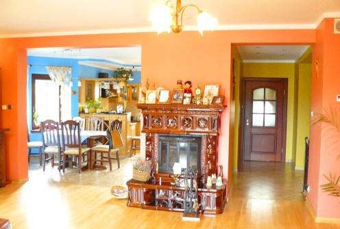 widok na luksusowe wnętrze z pięknym kominkiem w luksusowej willi do sprzedaży w okolicach Suwałk