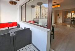 widok od strony balkonu na luksusowy apartament do wynajmu w Szczecinie