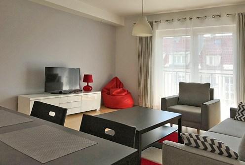 na zdjęciu nowoczesny salon w luksusowym apartamencie do wynajęcia w Szczecinie