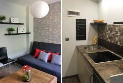 po lewej sypialnia po prawej kuchnia w luksusowym apartamencie w Szczecinie na wynajem