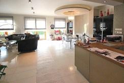 widok od strony kuchni na salon w ekskluzywnej willi do wynajmu w Szczecinie