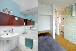 po lewej elegancka łazienka po prawej stylowa sypialnia w luksusowym apartamencie do sprzedazy w Krakowie