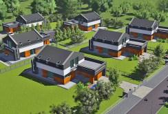 rzut z lotu ptaka prezentujący osiedle w Częstochowie, na którym znajduje się oferowana na sprzedaż ekskluzywna willa