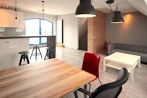 widok od strony kuchni na ekskluzywny apartament do wynajęcia w Szczecinie