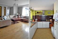 po lewej salon po prawej kuchnia w luksusowej willi w okolicach Białegostoku na sprzedaż