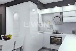 wizualizacją prezentuje nowoczesną kuchnię w luksusowym apartamencie do sprzedaży w Kwidzynie