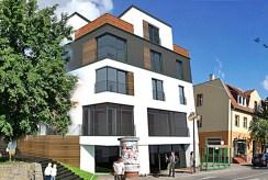 widok od strony ulicy na luksusowy apartamentowiec w Kwidzynie, w którym znajduje się oferowany do sprzedaży ekskluzywny apartament