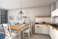 na zdjęciu kuchnia z jadalnią w ekskluzywnym apartamencie do sprzedaży nad morzem