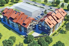 widok z lotu ptaka na luksusowe osiedle na Mazurach, na którym znajduje się oferowany na sprzedaż ekskluzywny apartament