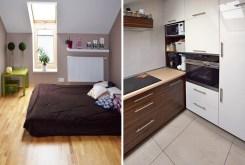 po lewej sypialnia, po prawej kuchnia w ekskluzywnym apartamencie w Białymstoku na sprzedaż