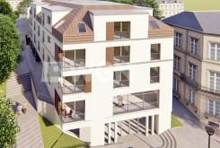 widok z lotu ptaka na luksusowy apartamentowiec w Kwidzynie, w którym znajduje się ekskluzywny apartament do sprzedaży