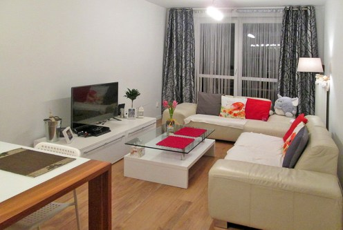 komfortowy salon w ekskluzywnym apartamencie do sprzedaży w okolicy Ostrowa Wielkopolskiego