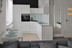 umeblowana kuchnia w luksusowym apartamencie do wynajmu w Katowicach