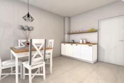 po lewej jadalnia, po prawej aneks kuchenny w luksusowym apartamencie do sprzedaży nad morzem