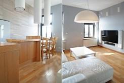 po lewej jadalnia, po prawej salon w ekskluzywnym apartamencie do sprzedaży w Legnicy