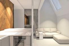 po lewej jadalnia, po prawej salon na wizualizacji wnętrza ekskluzywnego apartamentu do sprzedaży w Szczecinie