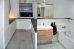 po lewej kuchnia, po prawej łazienka w luksusowym apartamencie w Katowicach na wynajem