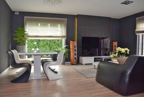 nowoczesny salon w ekskluzywnej willi do sprzedaży w Ostrowie Wielkopolskim