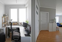 po lewej gabinet, po prawej przedpokój w luksusowym apartamencie w Krakowie na sprzedaż