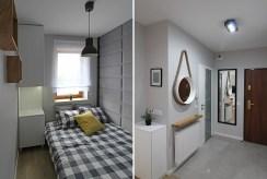 widok na sypialnię oraz przedpokój w luksusowym apartamencie w Krakowie na wynajem