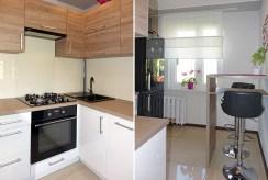 oba zdjęcia prezentują kuchnię w luksusowym apartamencie w okolicach Katowic na sprzedaż