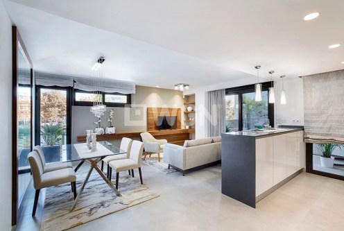 nowoczesny salon w ekskluzywnym apartamencie do sprzedaży w Hiszpanii (Alicante, Javea)