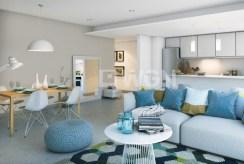 widok na jadalnię i salon na drugim planie w luksusowym apartamencie do sprzedaży w Hiszpanii (Alicante, Javea)