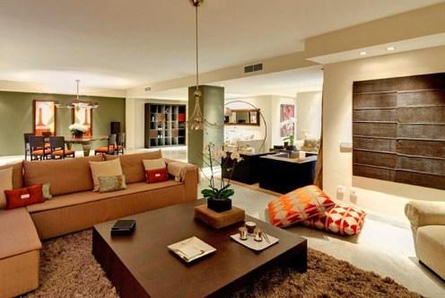 komfortowy salon w luksusowym apartamencie do sprzedaży w Hiszpanii (Malaga, Costa del Sol)
