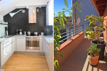 po lewej kuchnia, po prawej taras przy luksusowym apartamencie we Wrocławiu na sprzerdaż