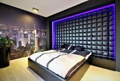 elegancka, zaciszna sypialnia w luksusowym apartamencie Kraków na sprzedaż