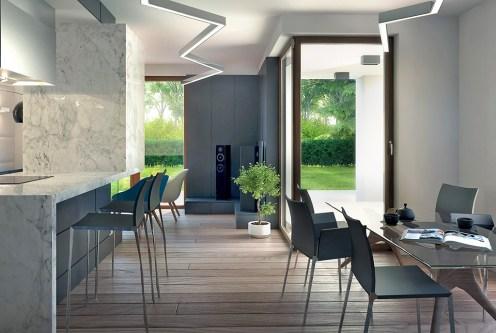 zaprojektowany w nowoczesnym designie salon luksusowej willi do sprzedaży w okolicach Łodzi