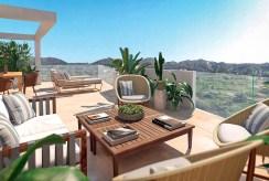 na zdjęciu elegancki taras przy luksusowym apartamencie Hiszpania (Fuengirola, Malaga, Costa del Sol) na sprzedaż