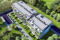 widok z lotu ptaka na osiedle w Krakowie, na którym znajduje się oferowany na sprzedaż luksusowy apartament