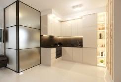 zaprojektowana w nowoczesnym designie kuchnia w luksusowym apartamencie Kraków na sprzedaż