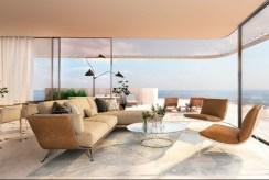 widok na komfortowy salon w luksusowym apartamencie do sprzedaży Hiszpania (Estepona, Malaga)