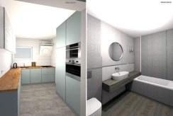 na zdjęciu kuchnia oraz łazienka w luksusowym apartamencie na sprzedaż Chrzanów (okolice)