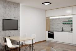 widok na nowoczesną jadalnią i aneks kuchenny w luksusowym apartamencie do sprzedaży Częstochowa