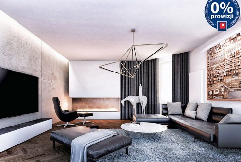 zaprojektowany w nowoczesnym stylu salon w luksusowym apartamencie do sprzedaży Kraków