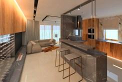 na pierwszym planie aneks kuchenny, w dalszej części salon w luksusowym apartamencie do sprzedaży Piotrków Trybunalski