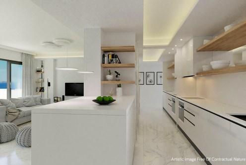 nowoczesny design kuchni w ekskluzywnym apartamencie do sprzedaży Hiszpania (Guardamar De Segur)