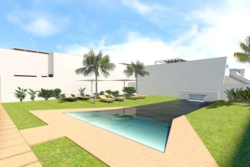 widok od strony basenu na ekskluzywny apartamentowiec, w którym znajduje się oferowany na sprzedaż luksusowy apartament Hiszpania (San Pedro Del Pinata)