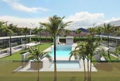 widok z okna na basen przy luksusowym apartamencie na sprzedaż Hiszpania (Mar de Cristal)